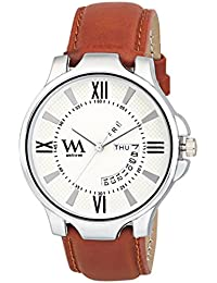Watch Me White Dial Brown Leather Strap Day And Date Collection Series Analog Quartz Watch For Men And Boys DDWM...