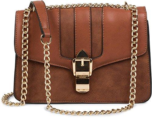 styleBREAKER box bag borsa da spalla in design messenger con chiusura megnetica e catena, borsetta, borsa, donna 02012200, colore:Marrone Rosso bruno
