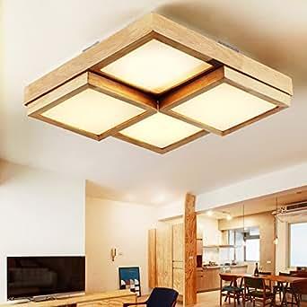 JJ Moderne LED Deckenleuchte Solid wood Cube square ...