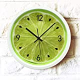 FortuneVin Wanduhren Quartz Küchenuhr Wanduhren Lautlos Wanduhr Schleichende Sekunde Ohne Ticken Obst Zitrone grüner Mute Quarzuhr Kaffernlimette