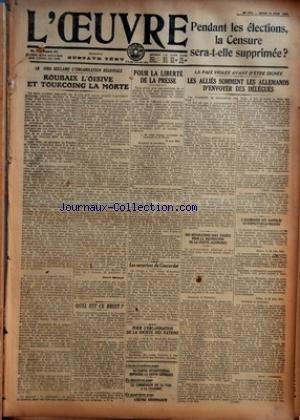 OEUVRE (L') [No 1372] du 26/06/1919 ...