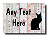 Cat shabby chic Wood A6 Wall Door Fence Gate House Sign Plaque