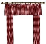 Wirth Landhaus Vorhänge Design Finja, kariert, Kräuselband, 2-er Pack, 125/55 cm, rot