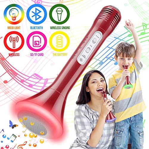 Microfono karaoke Wireless, Karaoke Portatile per Funzione Eco & Luce a LED, Microfono bluetooth per Bambini Compatibile con Android/iOS, PC o Smartphone (rosso)
