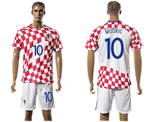 Desconocido Camiseta de fútbol para el hogar 2016 2017 de la Marca Croacia. 10 Luka Modric, Color Rojo, European Soccer League, Hogar, Hombre, Color Rojo, tamaño Medium