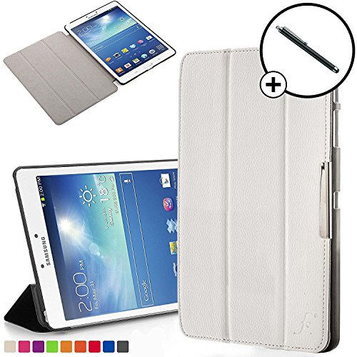 Forefront Cases Smart Hülle kompatibel für Samsung Galaxy Tab 3 8.0 Hülle Schutzhülle Tasche Case Cover - Ultra Dünn Leicht Rundum-Geräteschutz Smart Auto Schlaf Wach Funktion + Stift (WEIß) (Galaxy Tablet 3 Case 8 Zoll)