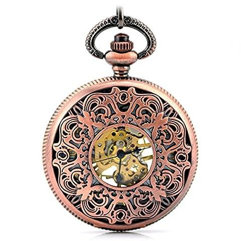 SNHWARE Cape Rétro Mécanique Gravé Sculpté Creux Rouge Bronze Cadeau Memorial Pocket Watch