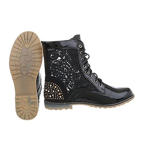 Ital-Design Schnürstiefeletten Damenschuhe Schnürstiefeletten Blockabsatz Schnürer Schnürsenkel Stiefeletten Schwarz