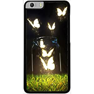Casotec Butterfly Design 2D Hard Back Case Cover for Micromax Canvas Knight 2 E471 - Black