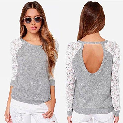 Culater® Frauen hohl rückenfrei Stickerei Spitze Bluse Shirt Bluse neu grau