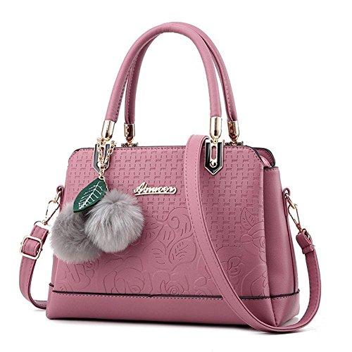 HQYSS Damen-handtaschen Frauen-einfacher wilder PU-lederner Schulter-Kurier-Handtaschen-beiläufiger prägeartiger Hairball verzierte Einkaufstasche rubber powder