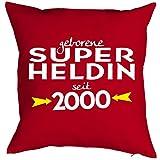 Sprüche-Kissen zum 18 Geburtstag - Geschenk-Idee Dekokissen Jahrgang 2000 : geborene Super Heldin seit 2000 -- Geburtstag 18 Kissen Farbe: rot