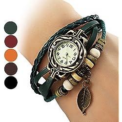 Lightinthebox® Women's Watch Bohemian Leaf Pendent Leather Weave Bracelet Green
