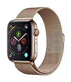 AppleWatch Series4 (GPS + Cellular) cassa 44mm in acciaio inossidabile color oro eloop in maglia milanese color oro
