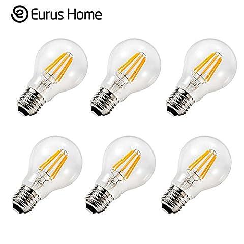 Warm Home 6W Dimmable Vintage LED Filament Bulb A19 LED Light Bulb, Medium Screw E26 Base, Clear Soft White 2700K 120VAC(6