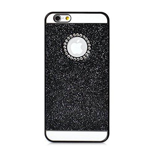 Coque Iphone 6/6S, XIAN en cristal de luxe Bling Glitter YiFeng Coque arrière pour Apple iPhone, plastique, noir, iPhone 5/5s