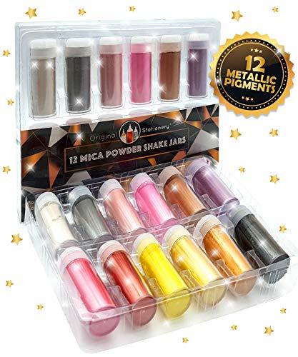 Set de 12 pigmentos de colores metálicos para jabones