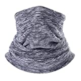 AYPOW Fleece Neck Warmer, Winter Warm Versatile Neck Warmer Extra Long Thick Neck Tube Windproof Balaclava Hood(Grey Color) - Elastic Universal Size