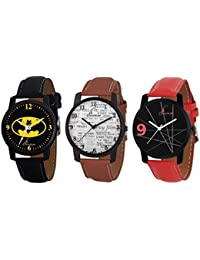 Jack Klein Combo Of Elegant 3 Different Color Strap Analogue Wrist Watches