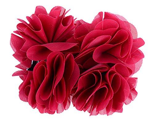 Edle FLOWER Blüten Haarspange Rockabilly Haarschmuck Retro 50s - Rot