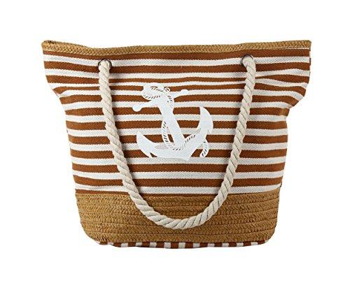 PLEASANT PALCE , Borsa da spiaggia  Ragazza donna Anchor Brown Stripe-54cmx40cmx24cm