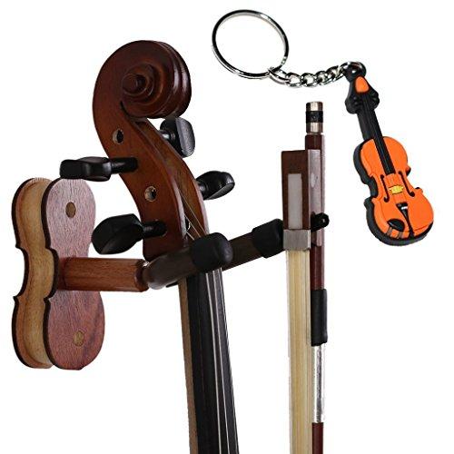 MOREYES Violine Kleiderbügel Wandhalterung - Holz Bogen Aufhänger mit einer Violine...