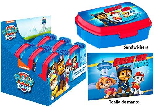 Kids euroswan 16308 - set di tovaglietta in cotone e portapranzo in pvc per la scuola, stampa paw patrol, multicolore