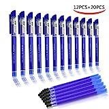 Penne Cancellabili, BBLIKE Ricariche Penne Cancellabili,Punta 0,5 mm – Confezione da 12PCS Fricion penna e 20 Ricariche Blu