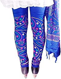D'Zires Women Cotton Blue Printed Leggings With Dupatta