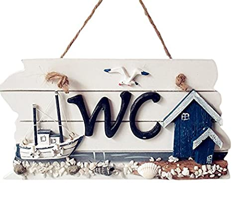 iTemer Mediterranean Style Wooden Hanging Plaque WC Bathroom Toilet Signage Doorplate Hand Carved Decorative Sign