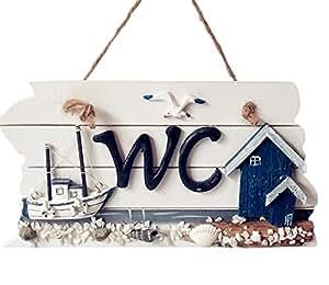 itemer mediterraner stil holz h ngeschild wc bad wc signage t rschild handgeschnitzt deko. Black Bedroom Furniture Sets. Home Design Ideas