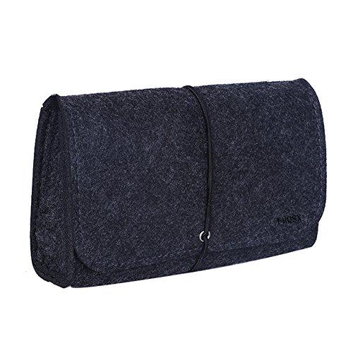 FHQSX Filz Mini Taschche Taschenorganizer Hülle für Zubehör und Accessoires Laptop Drahtlose Maus Kabel, Dunkelgrau