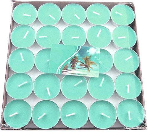 50x Milopon Teelicht Geburtstagskerzen Hochzeit Kerzen Deko Romantische Schwimmkerzen, ohne Rauch, romantisch, Valentinstag, zur Dekoration (Grün)