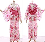 K-035 weiß rosa Sakura Bälle Kamille Blumen ORIGINAL traditionell Japan Damen Kimono YUKATA OBI Gürtel Baumwolle Kawaii-Story