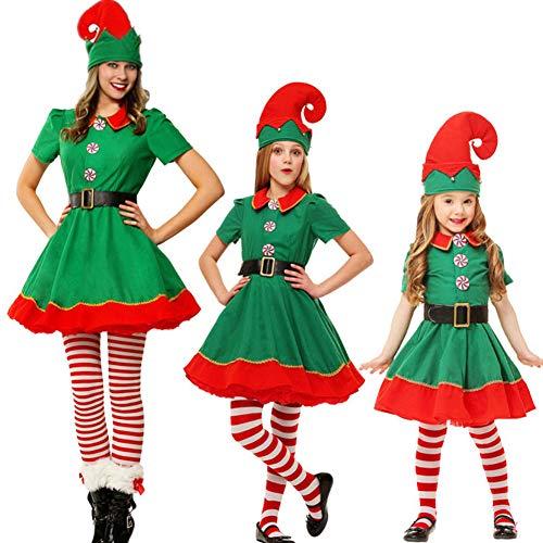 Erwachsene Für Kostüm Elf - QLING Weihnachts-Elf-Kostüm für Erwachsene, Kinder, Damen, Herren, Elfkleid, Herren, Oberteil und Hose, Socken, Gürtel und Hut, Weihnachten, Party, Kostüm, Mehrgröße, Rot und Grün, Woman, 180 cm