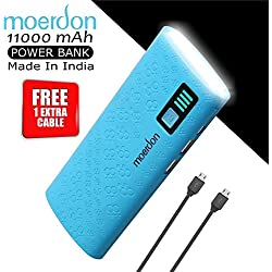 Moerdon 11000 mAh Powerbank With Dual USB Output Charger With Micro USB Charging Cable