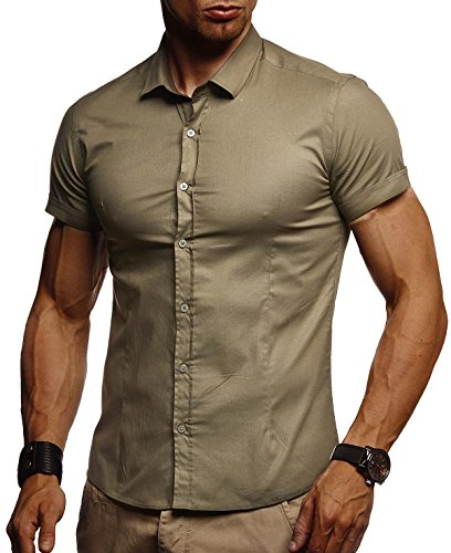 LEIF NELSON Herren weißes Hemd Slim Fit Kurzarm | Schwarzes Männer Stretch Kurzarmhemd Freizeithemd | Jungen Kurzarmshirt Sommerhemd Business T-Shirt Freizeit Party | LN3520 Khaki Small