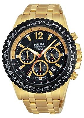 Pulsar chronograph - Reloj de cuarzo para hombre, correa de acero inoxidable color dorado