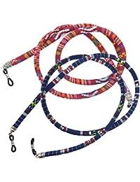 Homyl 2 pcs Cordones de Algodón Cuerda para Gafas Azul Rojo Étnico Boho