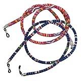 Homyl 2 pcs Cordones de Algodón Cuerda para Gafas Azul Rojo Étnico Boho - Azul rojo, una talla