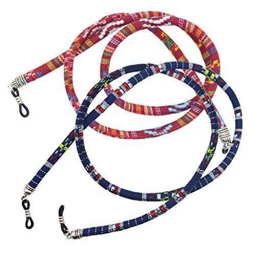 Homyl 2 pcs Cordones Algodón Cuerda Gafas Azul Rojo