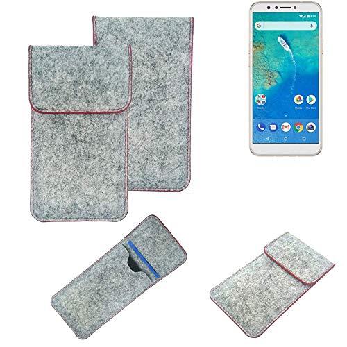 K-S-Trade® Filz Schutz Hülle Für -General Mobile GM 8- Schutzhülle Filztasche Pouch Tasche Case Sleeve Handyhülle Filzhülle Hellgrau Roter Rand
