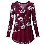 VEMOW Sommer Herbst Elegant Damen Oberteil Langarm O Neck Printed Flared Floral Beiläufig Täglich Geschäft Trainieren Tops Tunika T-Shirt Bluse Pulli(A2-Rot, EU-52/CN-5XL)