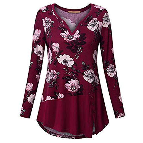 55d1468504cb5e VEMOW Sommer Herbst Elegant Damen Oberteil Langarm O Neck Printed Flared  Floral Beiläufig Täglich Geschäft Trainieren Tops Tunika T-Shirt Bluse  Pulli(A2-Rot ...