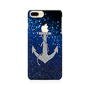 Kmltail Anchor On Blue Glitter Abstract Premium Printed Mobile phone back case Cover for Apple iPhone 7 Plus With Apple Logo Cut