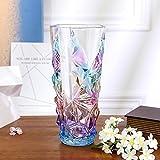 Kristallglas Blumenvase, Europäisch simple modern Blumenvase Für wasser pflanzen oder kaminsims wohnzimmer Esstisch-h24cm * d12cm-C