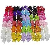 HBF Un Set da 30 Fiocchi per Bambini Accessori per Capelli Multicolori Fermagli Capelli Grosgrain Fiocchetti