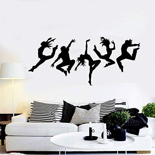 zqyjhkou Tanzstudio Silhouette Tanzen Menschen Wandaufkleber Vinyl Wohnkultur Für Wohnzimmer Abnehmbare Selbstklebende Wandbild Da12 L 96x42 cm