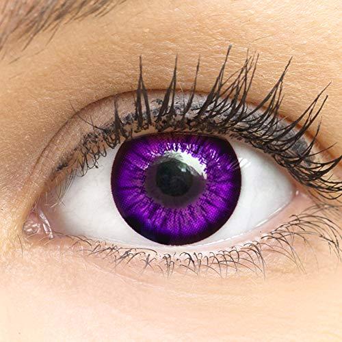 MeralenS Anime Manga Violette Circle Lenses - Sweet Violett ohne Stärke mit Kontaktlinsenbehälter - 15mm Farbige Big Eyes Contact Lenses