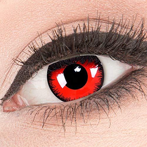 Funnylens Rote Kontaktlinsen Red Lunatic MIT STÄRKE - 1 Paar Farbige Crazy Fun Motivlinsen inkl. Behälter -4,00